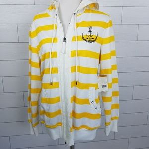 Laura Scott Size XL Nautical Yellow Stripe Hoodie